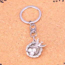 Wholesale Wholesale Eggs Silver Nest - New Arrival Novelty Souvenir Metal swallow bird's nest eggs Key Chains Creative Gifts Apple Keychain Key Ring Trinket Car Key Ring