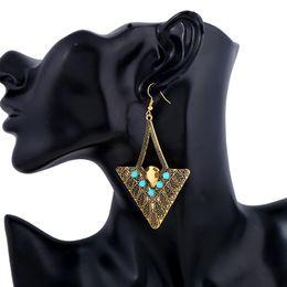 Wholesale Earring Big Triangle - Boho Colorful Beads Rhinestone Earrings Geometric Triangle Ethnic Big Statement Woman Fashion Charming 2 Colors Drop Pendientes