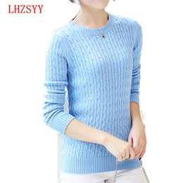 Wholesale Ladies Cashmere Pullover - Wholesale- LHZSYY NEW Cashmere Sweater Women Autumn Winter Knitted Ladies Long Sleeve O Neck 6 Color Cashmere Sweaters Pullovers Lovers