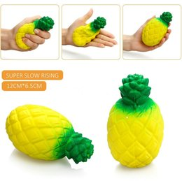 Wholesale Pineapple Bread - Pineapple Squishy Jumbo Kawaii 12cm Fruit Soft Mobile Phone Charm Straps Slow Rising Squeeze Scented Bread Toy Kids Relieve Anxiety Gift
