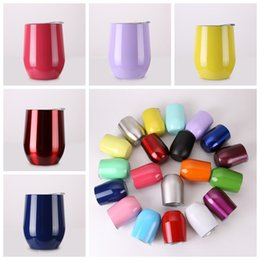 Wholesale Shape Glass Cup - 2017 Hot 9OZ U shape Cups Powder Coated Stainless Steel Wine Glass with Lid Wine Beer Cup 20 Colors