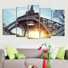 Wholesale Eiffel Tower Canvas Painting - Dawn of the Eiffel Tower Frameless Paintings Printd on Canvas Wall Art HD Print Painting Picture