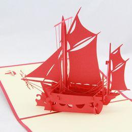 Canada Carte de voeux de voile gros-lisse / carte de kirigami 3D / cadeau de cartes de voeux à la main pour les hommes Livraison gratuite Offre