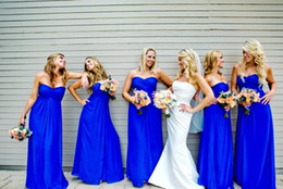 Wholesale Evening Gowns Fur - Royal Blue 2017 Cheap Long Wedding Party Dress Bridesmaid Dresses Sexy Strapless Simple A line Chiffon Floor Length Evening Gowns
