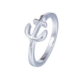 Wholesale Wholesale Ladies Crystal Rings - Viking Jewelry Small Anchor Ring Female Fashion Cute Ladies Love Finger Rings Silver Plated For Women Rings Fashion Wholesale