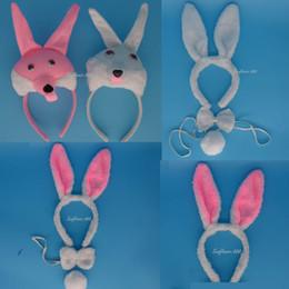 Wholesale Bunny Tails - Fun 3D White Rabbit Bunny Party Animal Headband Ears Set Bow Tail Fancy Dress Birthday Halloween Carnival Supplies Decor