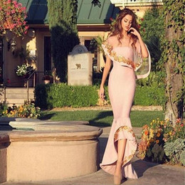 Wholesale Gray Lace Bolero - 2017 Sexy Pink Long Prom Dresses Applique Tulle Wrap Formal Party Dress with Bolero vestidos de novia Saudi Arabia Dubai Hi-lo Evening Dress