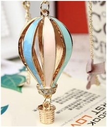 Wholesale hot air balloon necklaces - Hot New Fashion Women Colorful Jewelry Aureate Drip Hot Air Balloon Pendant Long Necklace Valentine gift 200pcs DHL FEDEX free shipping