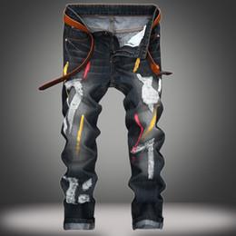Wholesale Men Jeans Paints - Men's Distressed Ripped Biker Paint Jeans Denim For Men Brand Designer Hip Hop Slim Straight Jeans