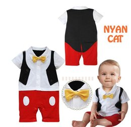 Wholesale Toddler Boy Tuxedo Shorts - Retail Baby Boys Rompers Cartoon Mouse Bow Dots Tuxedo Short Sleeve Summer One Piece Jumpsuits Overalls Toddler Clothes E12539