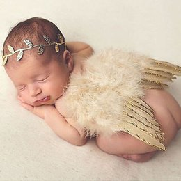 Wholesale Newborn Wings - Wholesale- Newborn Baby Boy girls Feather Pearl Gold Angle Wing Cotumes Leaves Headband 1st birthsay Photo Props tools Clothea