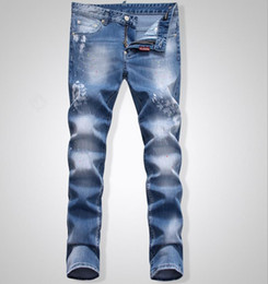 Wholesale Denim Flare Jeans - Top Fashion Summer Spring Oil Painted Washed Jeans Men's Cool Light Blue Distressed Skinny Slim Fit Denim Size