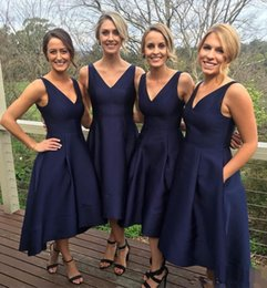 Wholesale Hot Sexy Dresse - Hot Sale Dark Navy V Neck Ankle Length Bridesmaid Dress Sexy High-Low Taffeta Wedding Party Dresses 2017 Short Bridesmaid Dresse With Pocket