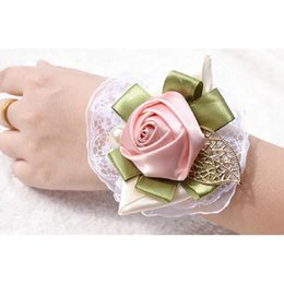 Wholesale Wholesale Wrist Wedding Corsages - 2016 Hot Sale 8 Styles Wedding Wrist Flower with Lace Bridesmaid Hand Flowers Bride Hand Flower Best Quality Free Shipping H0010