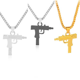 Wholesale Engrave Charms - 2017 HOT New Engraved Hip Hop For Supreme Gun Shape Uzi Golden Pendant Fine Quality Necklace Gold Chain Popular Fashion Jewelry 161849