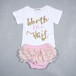 Wholesale Toddler Underwear Sets - baby outfits girls boutique clothing Summer Toddler Casual Sets Princess Letter Printed Romper + Lace Underwear 2cps Suits C1617