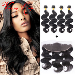 Wholesale Malaysian Sale - 4 Bundles Body Wave Hair With Frontal Natural Black Brazilian Wet And Wavy Hair Bundles Cheap Hair Weaves Extensions For Wholesale Sale