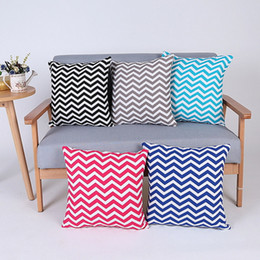Wholesale Canvas Pillowcases - Home Pillowcase Print Cushion Waved Stripes Printed Cushion Canvas Pillow Case Square Pillow Cover Print Bedding Supplies 2017