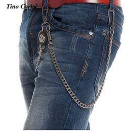 Wholesale Cool Wallet Mens - super cool mens long DJ pant necklace Thick GunMetal Wallet Skull Sword Jeans Key Chain Rock Biker Heavy Jeans Chain Hip Hop Pants Chain