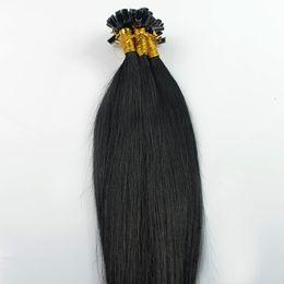 Бразильские девственные волосы прямо U наконечник наращивание волос # 1 струйный черный 100 г 100S кератин палку кончик человеческих волос от
