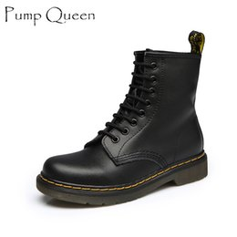 Wholesale Boots Men 42 - Wholesale-Women Ankle Boots 2016 Spring Fall Genuine Leather Lace Up Land Shoes Punk White Black Colors Men Plus Size 42 44 zapatos mujer