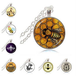 Wholesale Wholesale Insect Pendants - Yellow Queen Bee Necklace Honeybee Jewelry Honey Bee Pendant Bumble Bee Diva Jewelry Entomology Insect Charm Glass Cabochon Photo Pendant