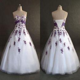 Wholesale Empire Waistline Dress - White and Purple Wedding Dresses Sweetheart High Waistline Appliques Tulle A Line Floor Length Bridal Gowns Custom Size