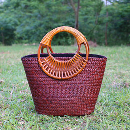 Wholesale Furniture Interiors - Simple arts and crafts handmade straw bag retro bamboo woven package national wind leisure bamboo and rattan furniture resort beach package