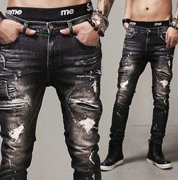 2019 nuevos jeans clásicos de corte recto Al por mayor- NUEVOS hombres diseñados agujero recto Slim Fit Biker Jeans Pantalones Pantalones de mezclilla Classic 2016 Moda nuevos jeans clásicos de corte recto baratos