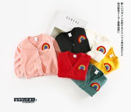 Wholesale Mixed Kids Clothes - INS autumn new style Kids Long Sleeve Sweaters Cardigan baby kid 100% cotton comfortable V single breasted cardigan knitted collar clothing