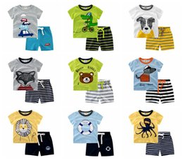 Wholesale T Shirt Pajamas - INS Summer Baby Boys Anchor Sets Top t shirt + Stripe Pants Children Short Sleeve Boutique Outfits Kids Summer Pajamas Suits Kids Clothes