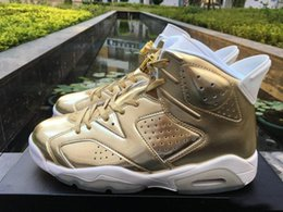 Wholesale Rose Gold For Cheap - 2017 AAA+ quality air retro 6 Pinnacle Metallic Gold men Basketball Shoes retro XI sports Sneakers us size 8-13 cheap online for sale
