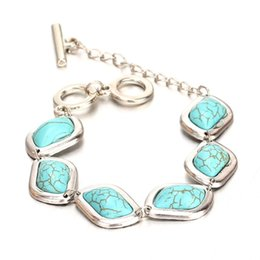 Wholesale Wholesale Fashion Jewelry Quality Turquoise - Wholesale-Fashion Vintage Silver Plated Bracelet High Quality Turquoise Beads Wrist Band Bracelets for Women New Fine Jewelry