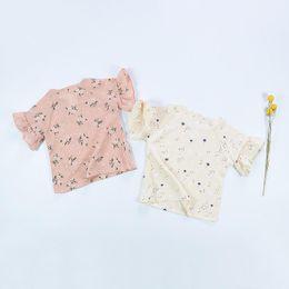 Wholesale Singlet Girls Tanks - Baby girl kids vintage chiffon shirt INS cotton flower t-shirt vest tanks tank tops singlet blouse floral flower cotton tutu tops