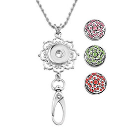 Wholesale Metal Necklace Chain Lanyard - DIY Noosa Round Flower Unique Latest Fashion Metal Clasps Silver Plated Snap Womens Office Lanyard ID Badges Holder N184S