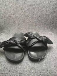 Wholesale Cheap Slippers For Women - Fashion Cheap Women Slipper Fenty Rihanna Slippers Bow Bandana Slide Slippers Fenty Bow Slides for Women Indoor Slides Sale Online