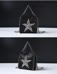 Wholesale Mini Diamond Cross - 2017 new spring Falabella Shaggy Deer pvc Fold Over 3 Chain Crystal Diamond Mini Chain Bag Shoulder Messenger Bag