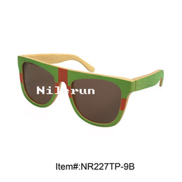 Wholesale Bamboo Framed Painting - multi color green red hand painted bamboo sunglasses