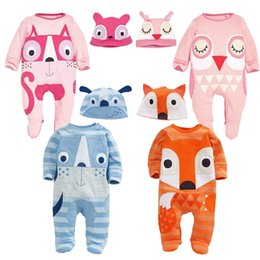 Wholesale Girls Owl Romper - New autumn Baby fox owl Romper Long sleeve cartoon cat dog Jumpsuits kids Animal shape climbing clothing with hat