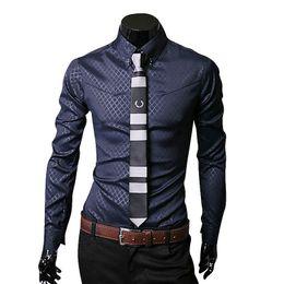 Wholesale Work Shirts Xxl - Wholesale- New Fashion Mens Formal Business Shirt Casual Slim Fit Long Sleeve Dress Shirts Male Clothing Work Wear Size M-XXL