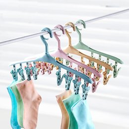 Wholesale Plastic Clips For Ties - Multi-Function hangers with 8 clips Saving Space Racks for Clothes Pants Lingerie Hats Scarves Tibe Belts Towels Children Baby Adults
