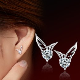 Wholesale Cubic Zirconia Stud Earrings Cheap - Cheap 12Pair Lot Women Exquisite Angel Wings Stud Earrings 925 Sterling Silver Fashion Jewelry Girls Party Earrings Nice Gift Hot Selling