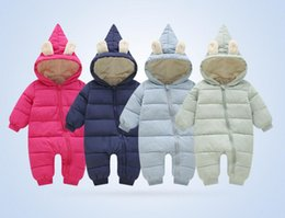 Wholesale Girls Goose Down Coats - clothes winter baby overalls pants hooded snowsuit onesieduck goose down girl boy kid coat jacket korean wholesale warmer 1-4T 6-24 moths