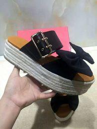 Wholesale Espadrille Sandals - 2017 SUMMER Womens Ladies Metal buckle starp real leather with black Satin bow peep toe Platform Espadrilles Mule Slide Sandals slippers