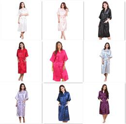 9 colores de las mujeres de moda sólido de seda kimono bata para damas de honor del banquete de boda vestido de noche pijamas M011 desde fabricantes