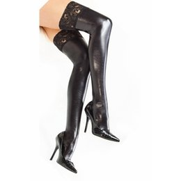 Wholesale Wholesale Lycra Socks - Wholesale- Women Sexy PU Leather Lycra Wet Look Thigh High Stockings With Lace Stay-up G74