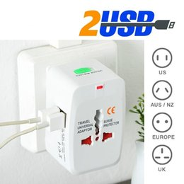 Wholesale Uk Travel Adaptor - All in One Universal International Dual USB Travel Charger Adapter, 2 USB Port World AC Power Adaptor AU US UK EU Plug with Retail Packaging