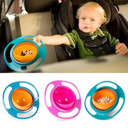 Wholesale Toddler Bowls - Universal Gyro Bowl Children's Toddlers Baby Kids Toy Bowl Non Spill Eat Food Snacks Bowl Lunch Box Children Christmas Gifts