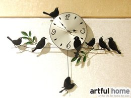 Wholesale Wrought Irons - Wholesale- FORD bird clock wrought iron wall clock mute personality pocket watch rustic table