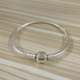 Wholesale European Diy Sterling Silver - 100% 925 Sterling Silver Clip With Stamp Women Bangle Bracelets Fit Pandora Style Charm European DIY Beads 16-21CM